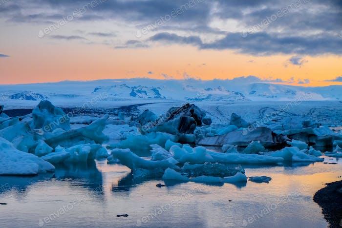 Glacier lagoon at midnight
