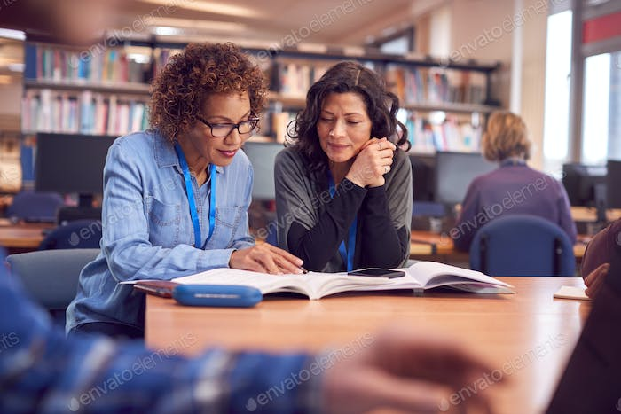 Teacher With Mature Female Adult Student Sitting At Table Working In College Library