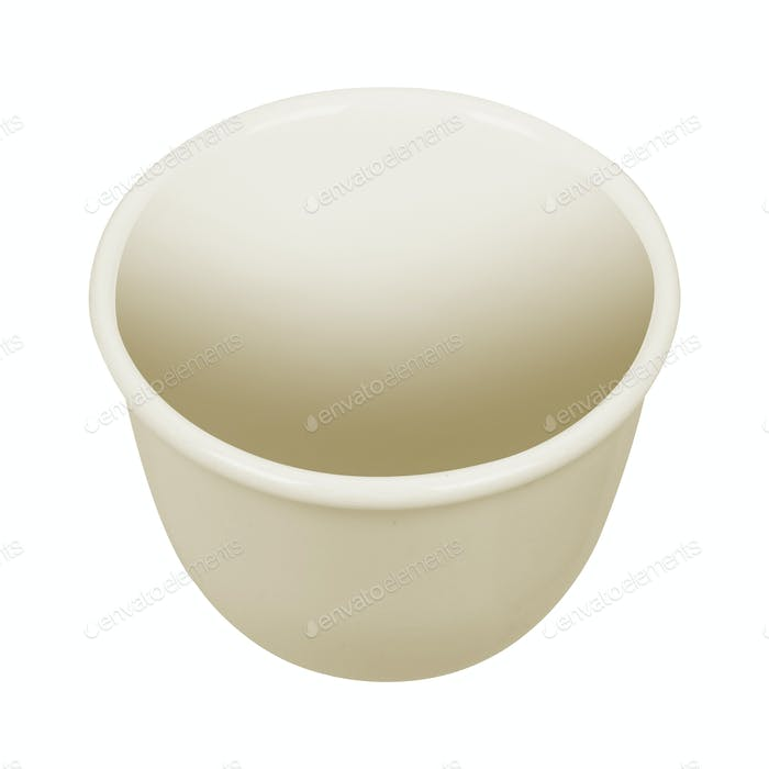 Empty porcelain bowl isolated