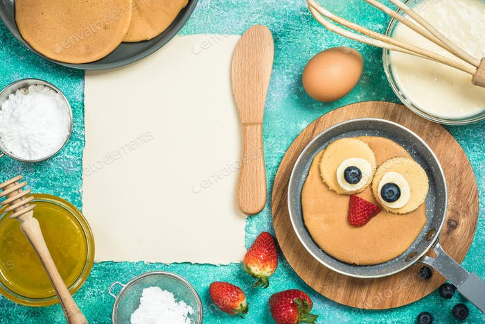Ingredients for perfect pancakes with copy space mock up