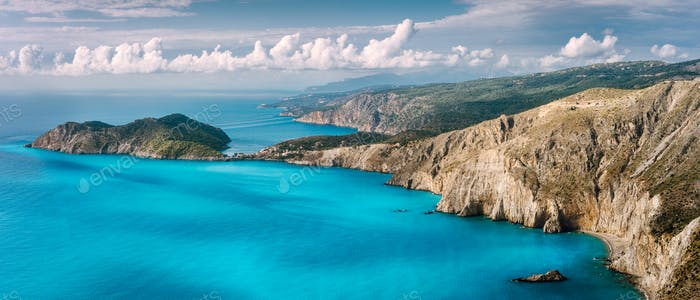 Panorama scenery view of Assos peninsula and coastline in Kefalonia Greece. Turquoise calm