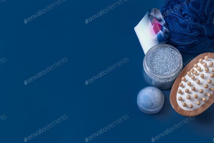different body care items on blue color.