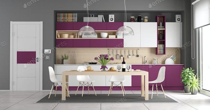 Modern white and purple kitchen