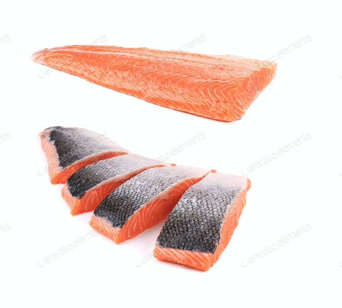 Fresh uncooked red fish fillet and slices.