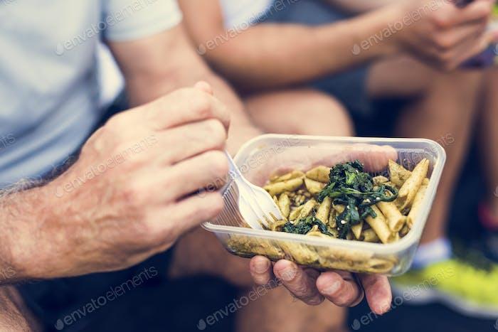 People eating healthy food