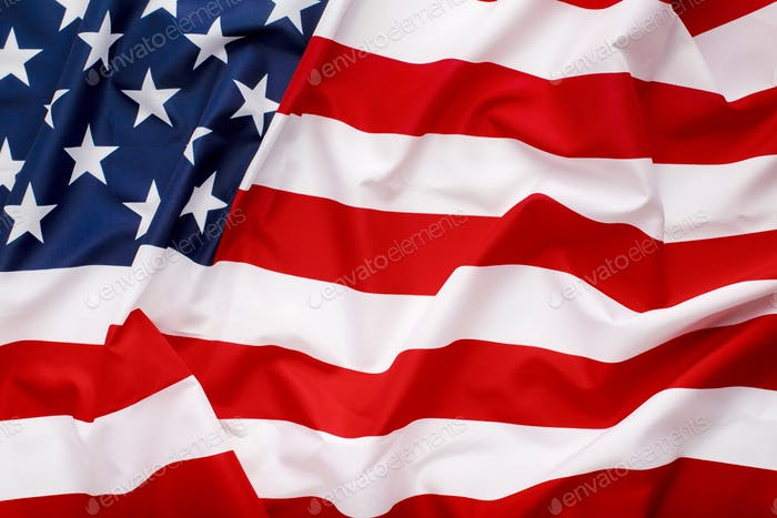 Waving flag of the United States of America, web banner