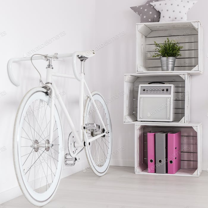 Vintage bicycle and wooden shelf