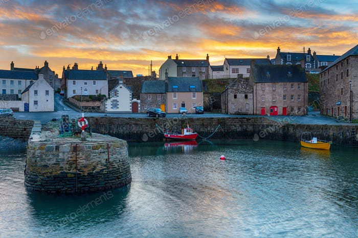 Sunset at Portsoy harbour