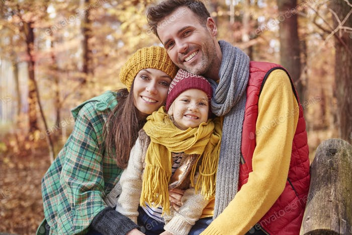Portrait of family during the autumn
