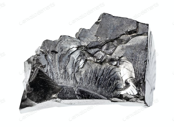 unpolished Shungite rock isolated on white