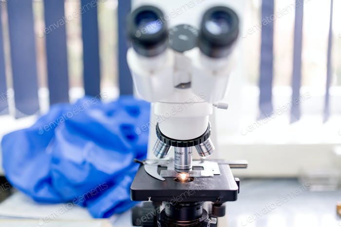 Chemical laboratory microscope, tools and gadgets. Scientific and health care research equipment