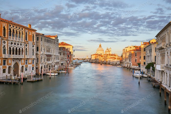 Grand Canal in Venice with Saint Mary of Health basilica in Italy