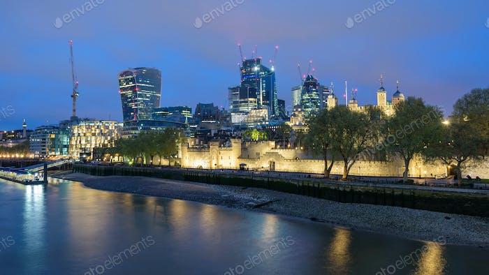 London skyline at cloudy night