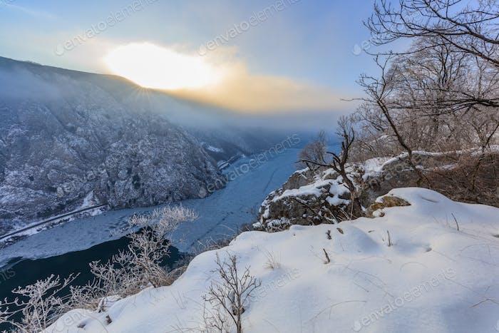 Danube Gorges in winter, Romania