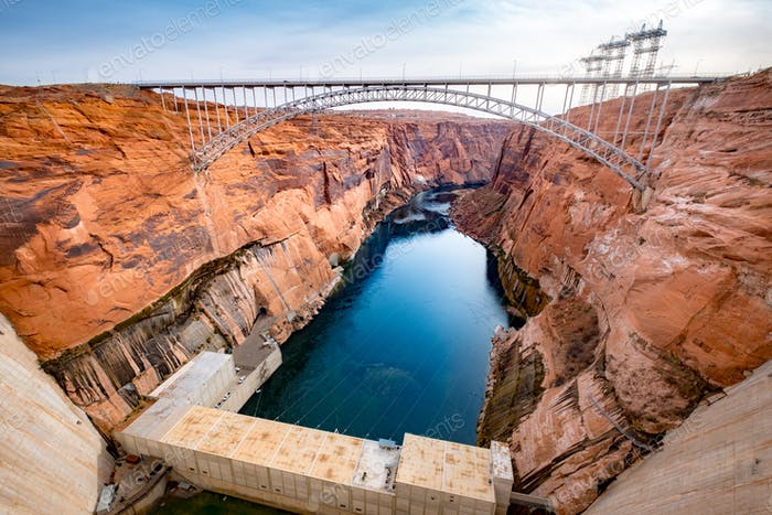 Scenic view of the bridge over Glen canyon dam and power plant, USA