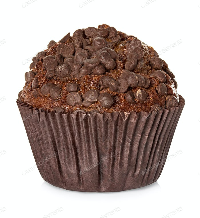 Muffin, chocolate cake isolated on white background