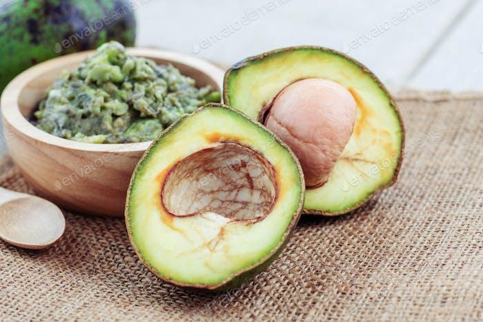 avocado cut on sackcloth