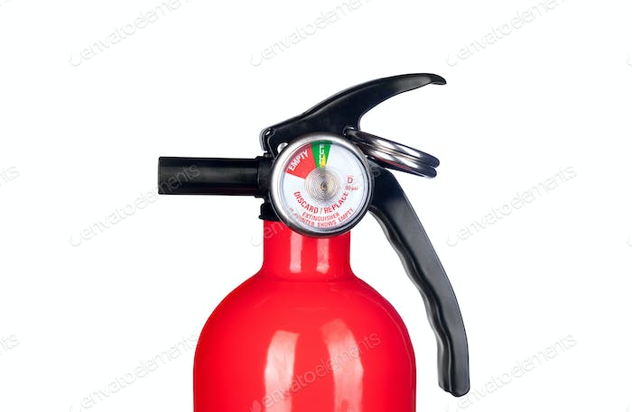 Fire extinguisher valve on white