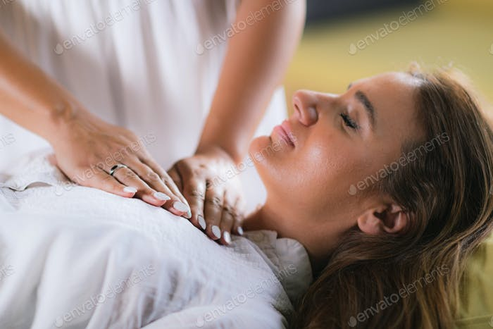 Reiki Session with Woman