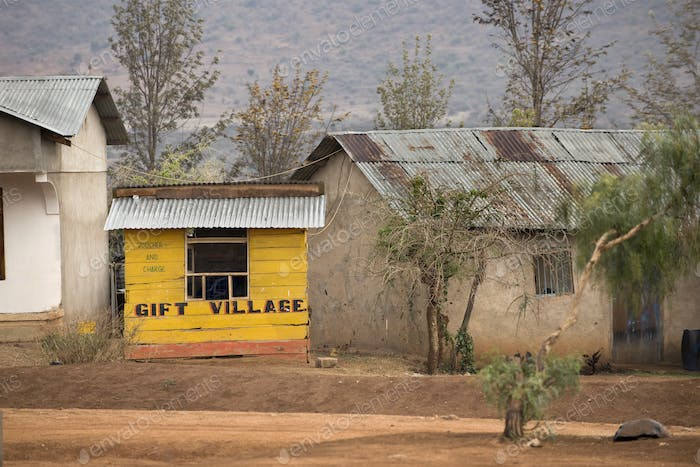 Yellow wooden gift shop, Tanzania, Africa