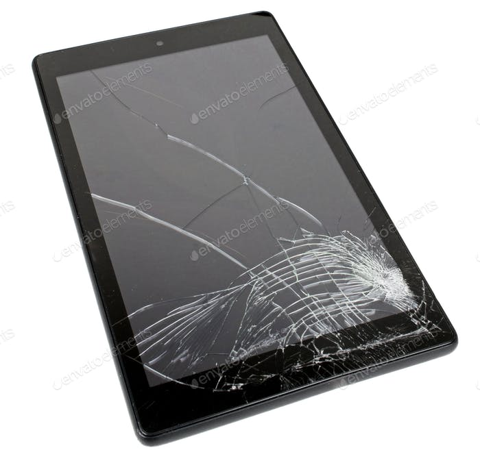 A Smashed Tablet Display Screen