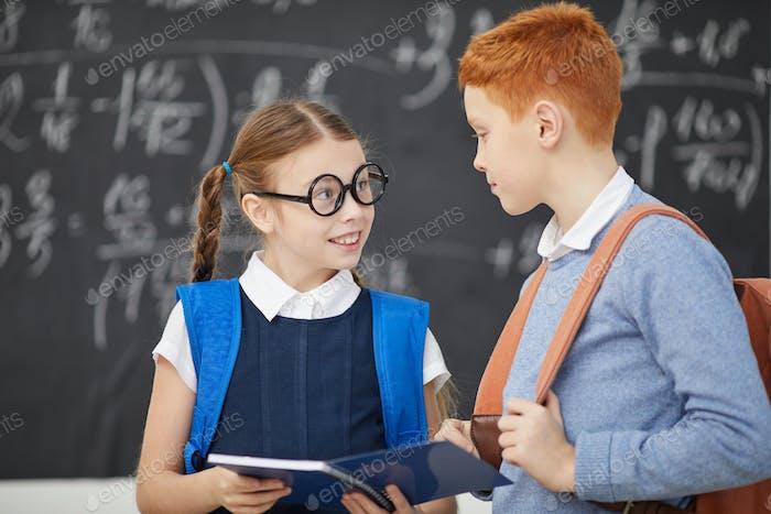 Zwei Freunde studieren in der Schule