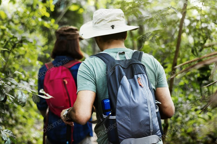 Couple trekking together