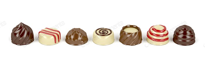 Chocolate pralines on white