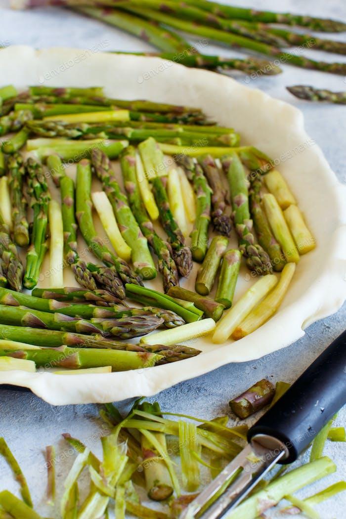 Asparagus Quiche preparation