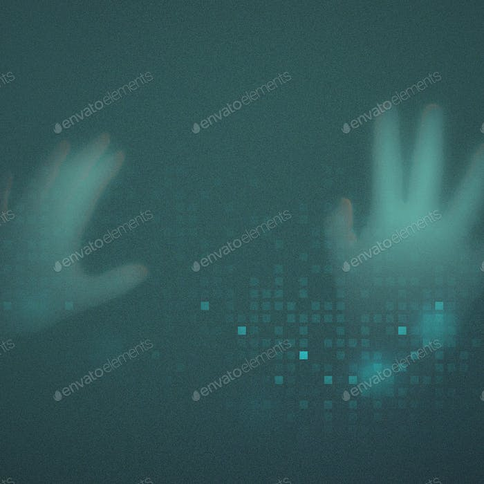 Hands disappearing behind green transparent screen