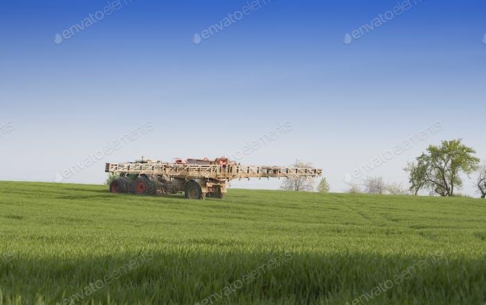 spraying wheat field