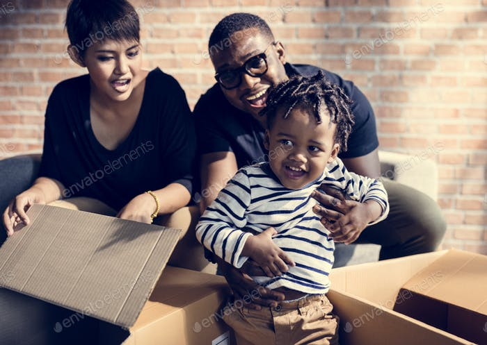 Family unpacking together in new place