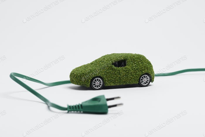 Ecological, electric car on white background