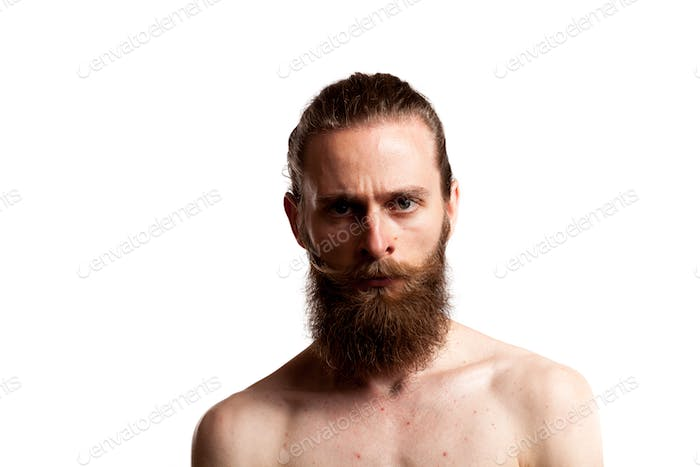 Hipster with long beard over white background