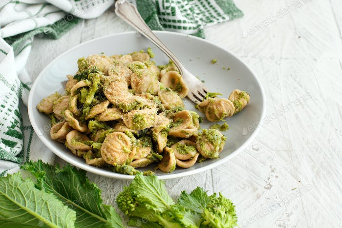 Traditional Apulia region pasta Orecchiette with turnip greens