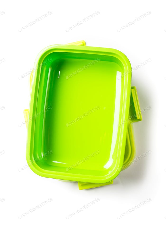 Green lunch box on white