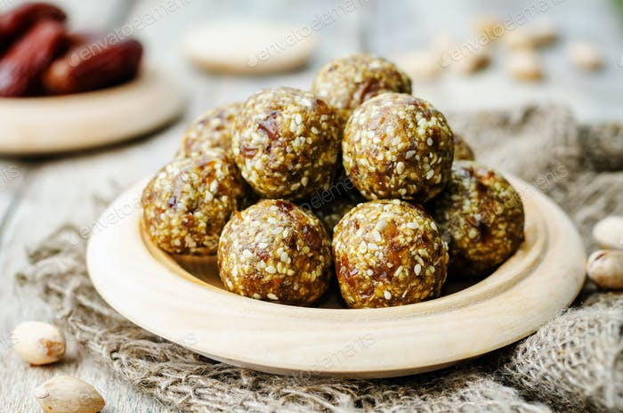 raw vegan dates sesame pistachio balls