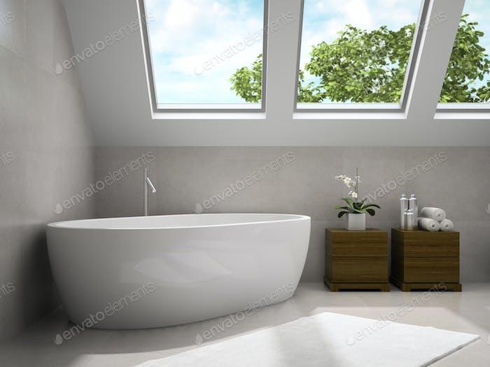 Interior of modern bathroom with wooden cupboards 3D rendering