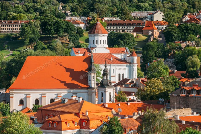Vilnius, Lithuania. View Of Cathedral Of Theotokos And Church Of St. Johns, St. John Baptist And St