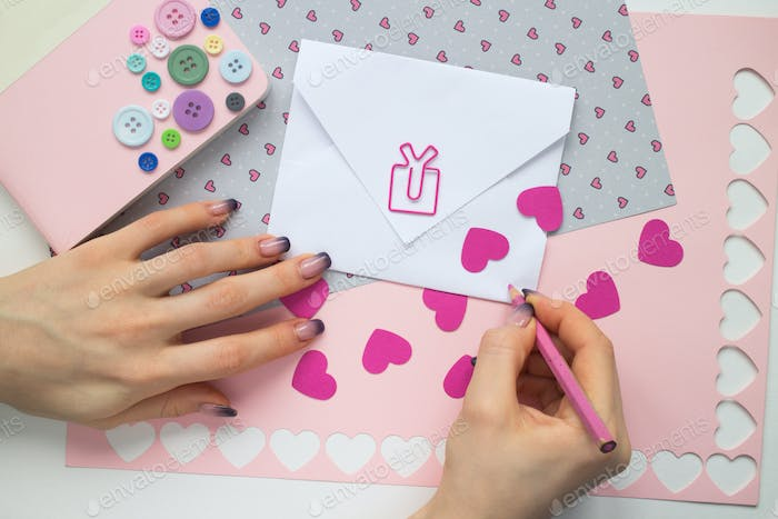 woman hands subscribe Valentine celebration card