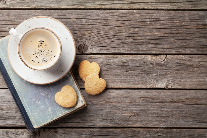 Coffee cup and heart shaped cookies