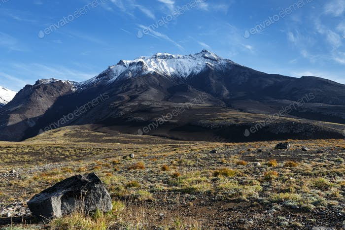 Volcanic Landscape of Kamchatka on Background of Blue Sky