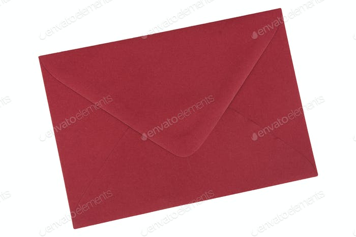 Dunkelroter Umschlag auf weißem Hintergrund