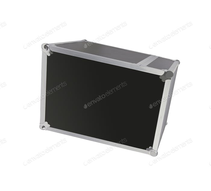 black flight case with metallic edges isolated