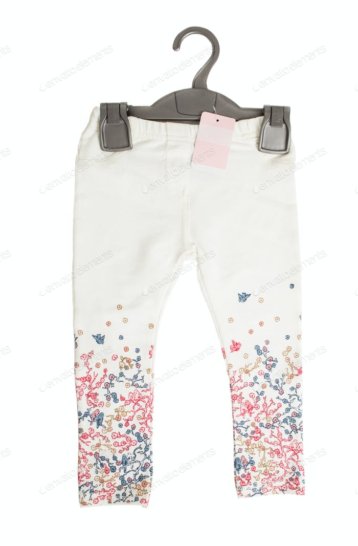 White denim jeans with floral pattern.