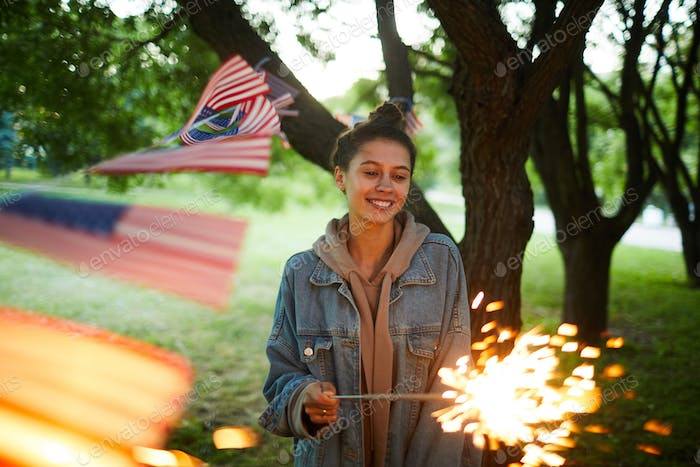 American girl with sparkler
