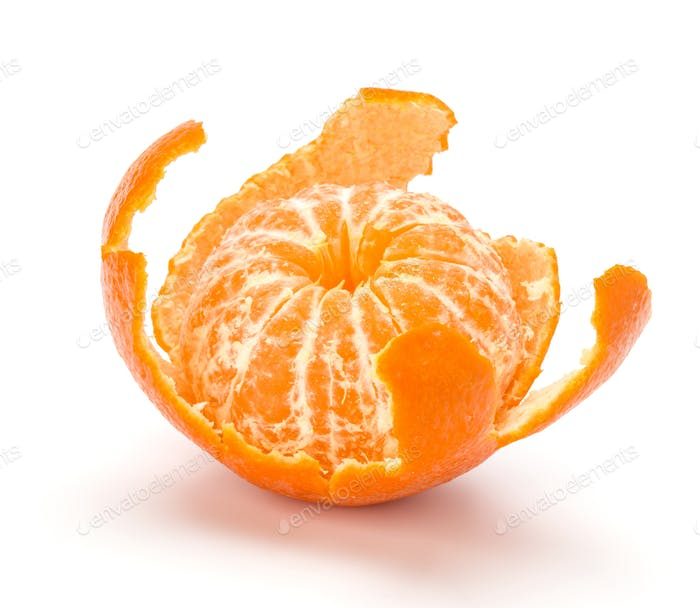Peeled tangerine or mandarin fruit.