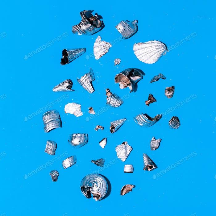Broken silver shells Minimal art design