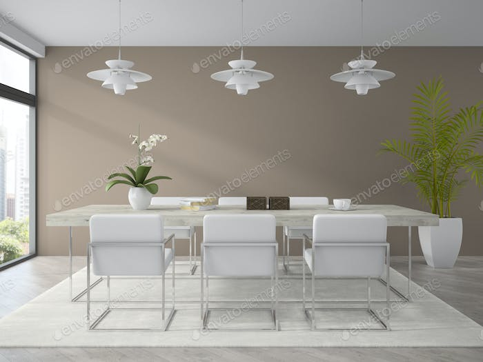 Interior of modern design dining room with palm 3D rendering