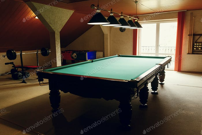 Luxury pool table at recreation room in rehabilitation centre in hospital